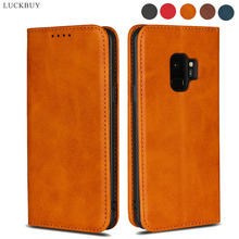LUCKBUY Luxury Retro Phone Case For Samsung Galaxy S9 Calf Pattern Leather Wallet Magnetic Back Cover Plus