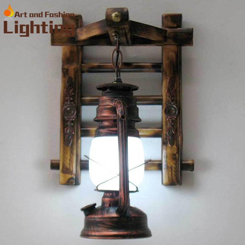 estilo chino de la novedad de bamb escalera lmparas de pared granero vintage bronce linterna equipos