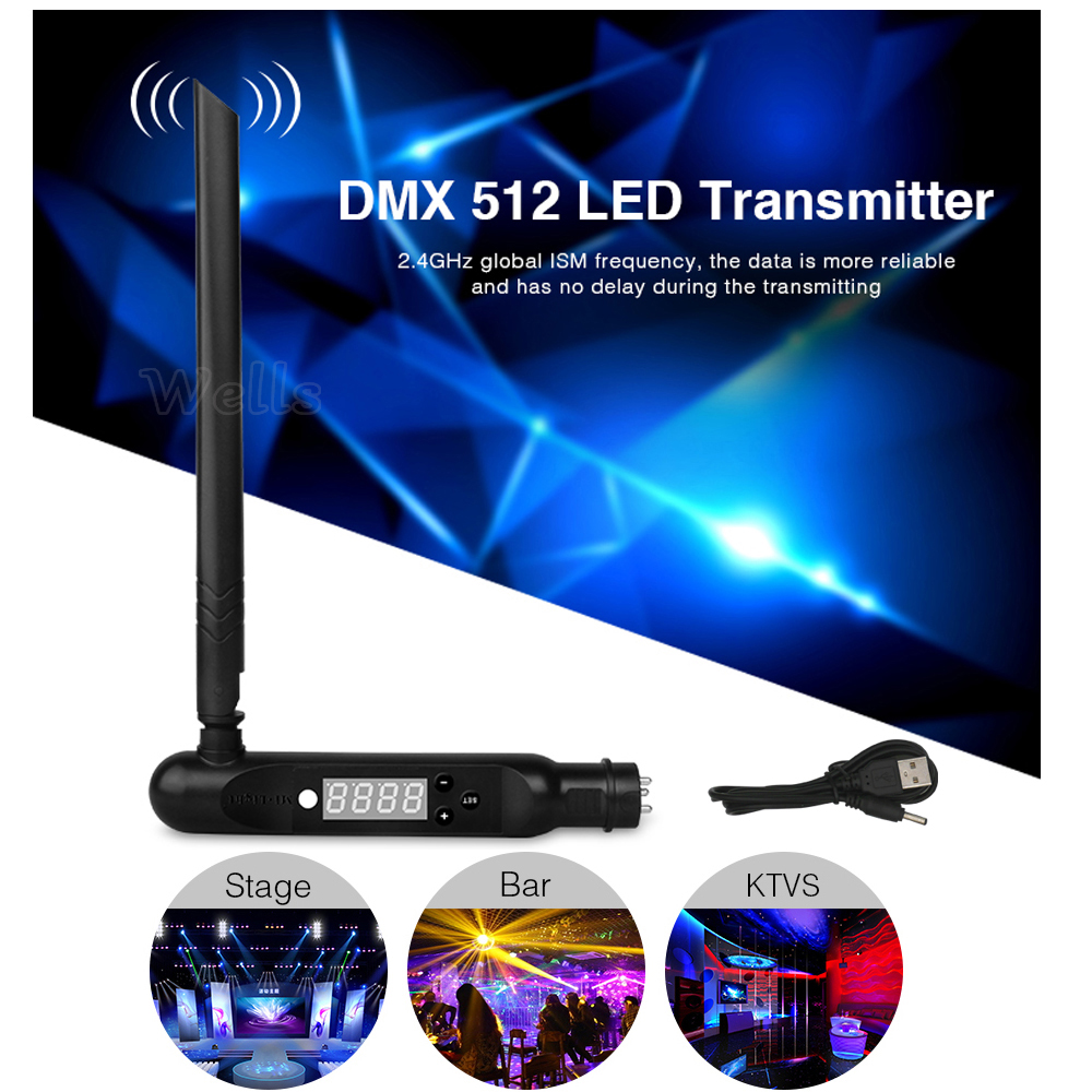 2.4G wireless ISM signal connect controller 3pin XLR transmitter DMX512 Receiver adapter for Disco LED Stage PAR Effect Lights