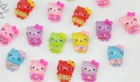 200pcs Kitty in rhinestone dress Cabochons Pendant Charms, hair accessory , embellishment, DIY project supply 20mm sparkling