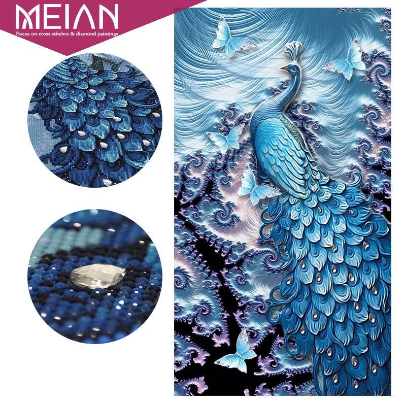 Meian, специальные формы Павлин бабочка животного, Алмазный Вышивка, полный, DIY, Алмазный живопись, алмазная мозаика, Diamant изображение