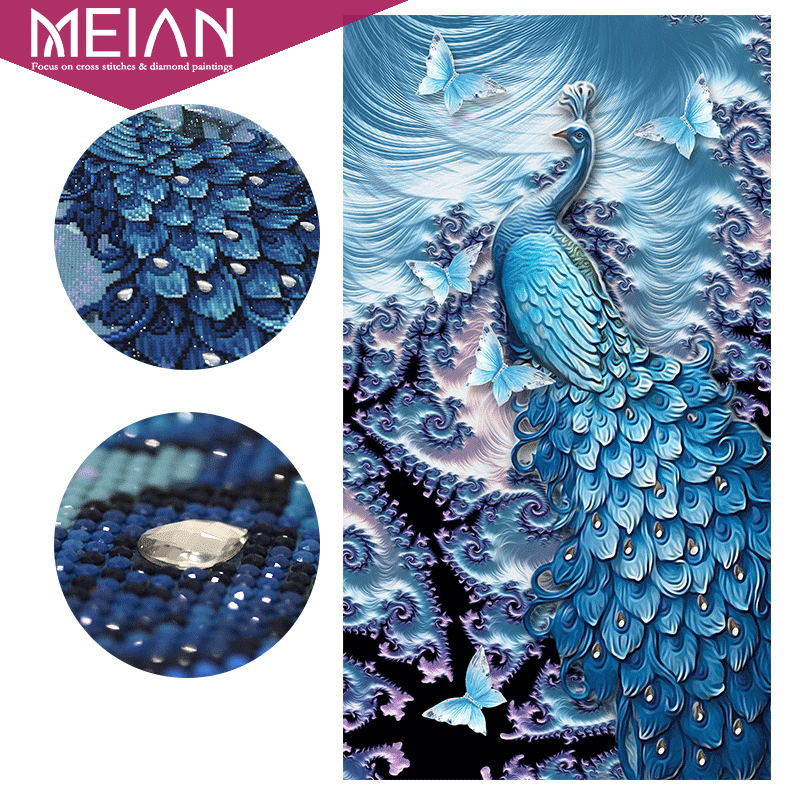 Meian,Special ShapedPeacock ButterflyAnimal,Diamond Embroidery,Full,DIY,Diamond Painting,Diamond Mosaic,Bead Diamant Picture