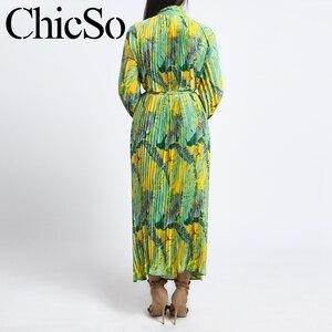 Image 4 - MissyChilli Pleated floral chiffon long sleeve dress Women elegant green bohu dress festa Female spring summer party beach dress