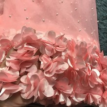 Peach African Lace Fabric, 3D Applique Lace For Wedding, Bridal Dress Tulle Lace Fabric M23621