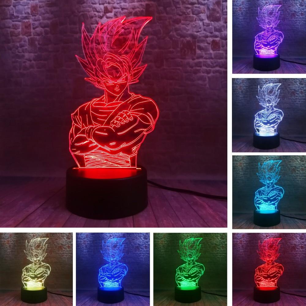 Saiyan Legends King Vegeta Mathilde Dragon Ball Z Kakarotto God Goku Figure Action Strength 3D 7 Color Night Light Boys Xmas Gif