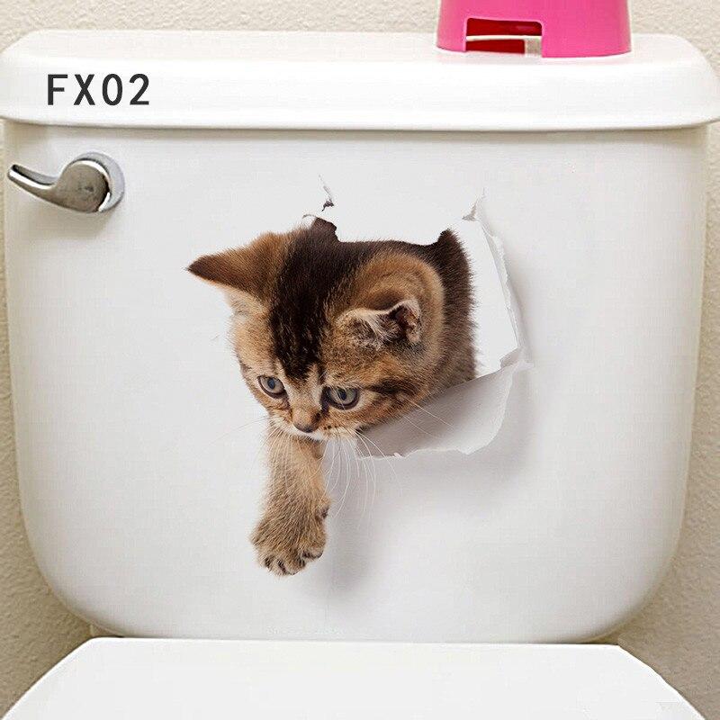 3d vivid отверстие кошка стены Стикеры наклейки Ванная комната туалет шкаф Спальня дверь холодильника украшение стены Книги по искусству росп...