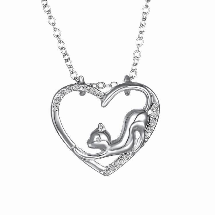 Meow ~ Meow ~ Cat Kitty Hängsmycke Halsband Heart Hollow Claw Cat - Märkessmycken - Foto 3