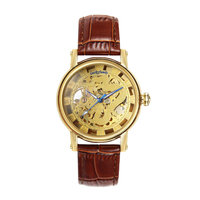 G8110 Unisex Dragon Pattern Cut out Manual Wind Analog Mechanical Mens Watches with Faux Leather Strap Siver Gold Wristwatches