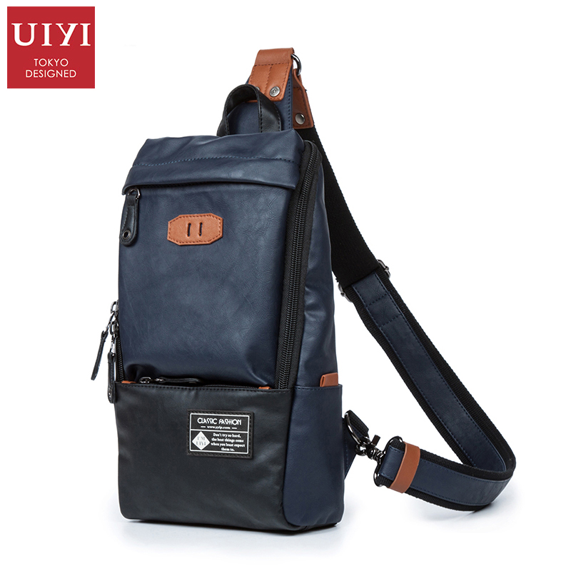 UIYI PU Leather Men Chest Pack Patchwork Men Cross Body Sling Chest Leather Shoulder Bags Black Crossbody Bags for Men women