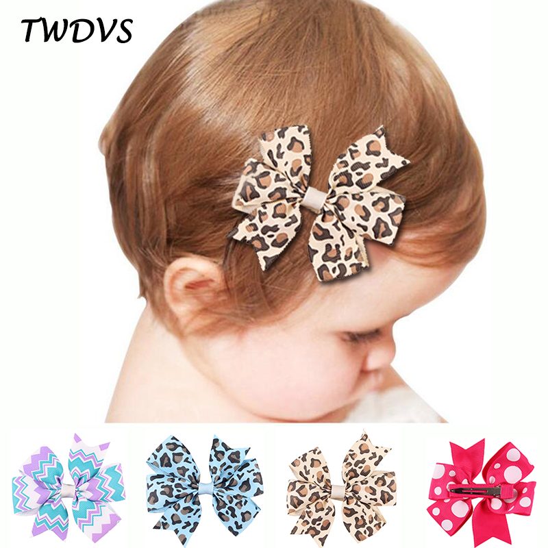 TWDVS Kids 20Color Style Bow Knot Hair Clip Cartoon Flower Hairgrip Leopard Swallowtail Hår Tillbehör W169