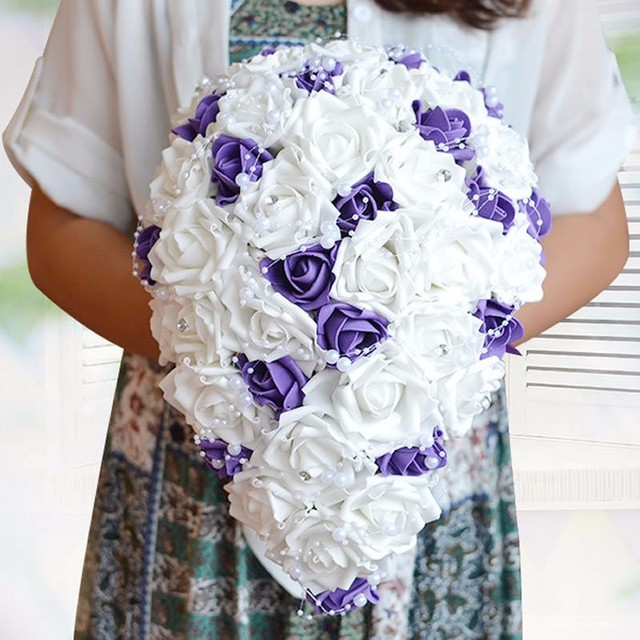purple white Crystal Western Wedding Bridal Bouquet Dripping Flowers Bridal Bouquet Waterfall Brooch Buque De Noiva Artificial