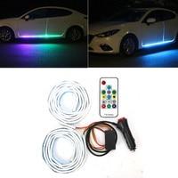 New reomte control RGB Car Flexible LED Strip Decorative Atmosphere Lamp Car Side door atmosphere light Auto Neon Light Kit