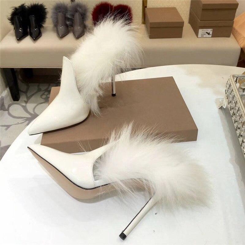 Bout Verni À Talons Femme Femmes Mince Renard Parti vin Hauts Fourrure blanc Mode Chaussures Rouge 2018 Pointu Cuir De Noir gris Sandales Gladiateur En vnXZzqp