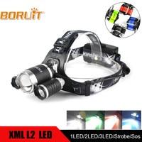 BORUIT XM L2 XPE Green Red Blue White LED Headlamp USB Rechargeable Flashlight Hunting Headlight For