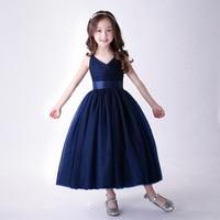 Beach Party Long Girl Dress Wedding Navy Blue Birthday Vestido De Festa Longo 4 6 8 10 12 14 Years Old Girls Clothes RKF184034