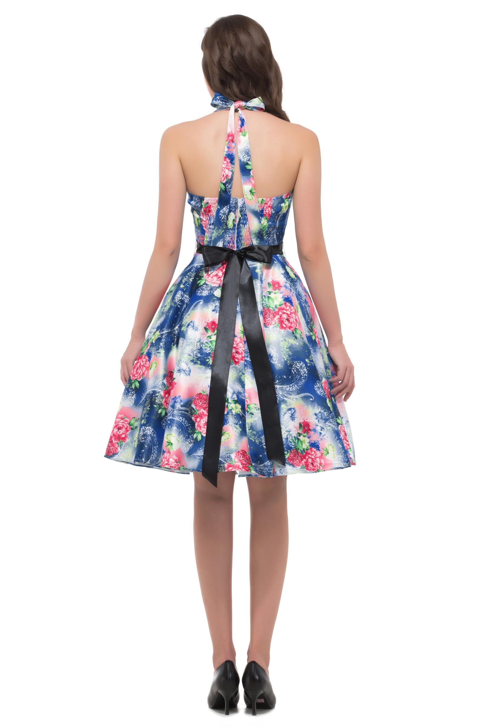 Licou cou col en V imprimé Floral robe genou longueur balançoire robe dissimulée fermeture éclair à l'arrière femmes Vintage 1950 s