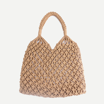35x35CM Fashion Popular Woven Bag Mesh Rope Weaving Tie Buckle Reticulate Hollow Straw Bag No Lined Net Shoulder Bag