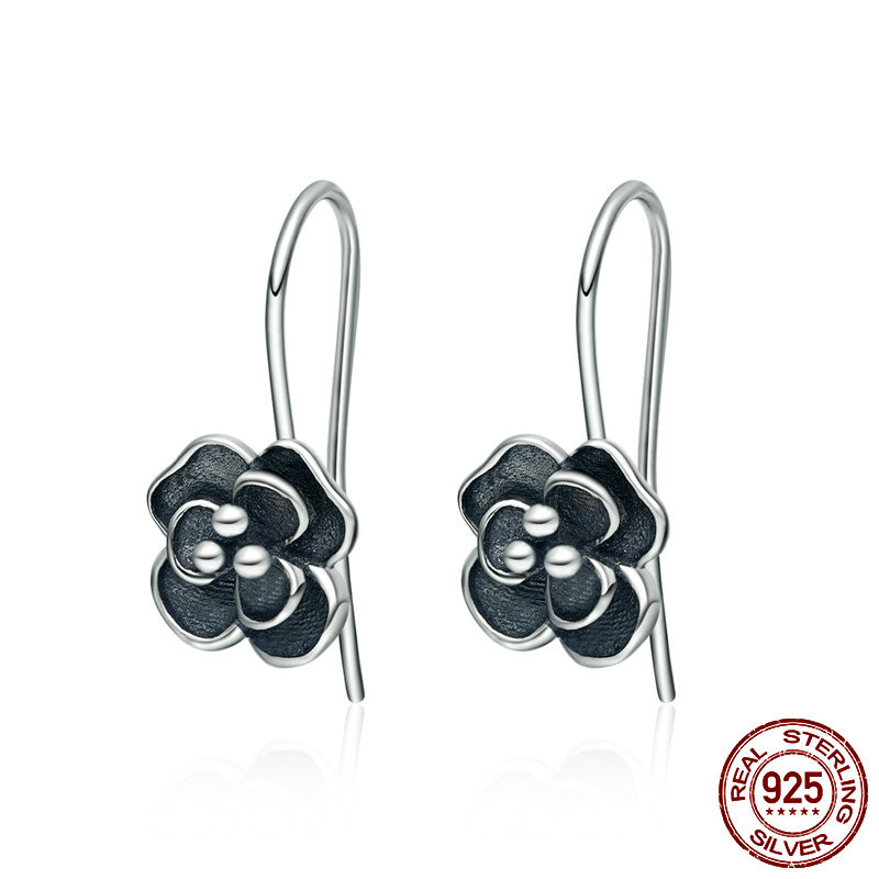 Long 925 Sterling Silver Earring Female Dazzling Flower Pushed-back 925 Silver Earrings Tibetan Silver Stud Earrings for Women