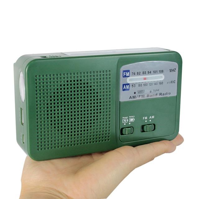 Generador del dínamo de Radio FM/AM Solar Manivela Linterna de Energía de Emergencia Cargador de FM Radio Y4346G