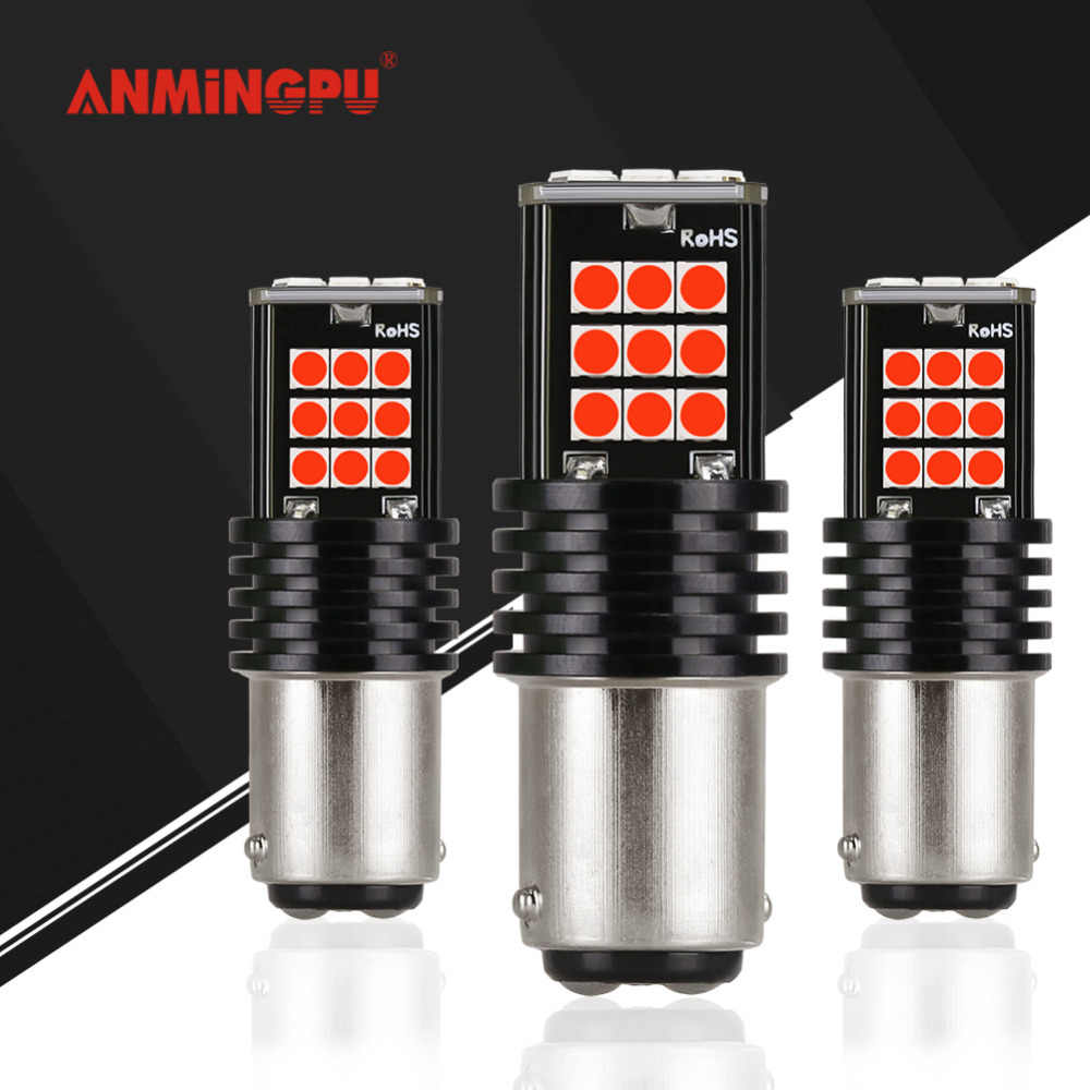 ANMINGPU 2x สัญญาณ P21/5 W Led 1157 เบรคสำรองหลอดไฟ 3030SMD Ba15s Led P21W Bau15s Bay15d led Canbus โคมไฟสำหรับรถแดง