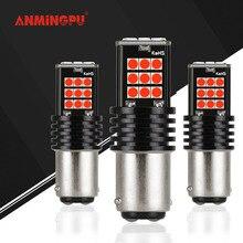 Anmingpu 2x сигнальная лампа P21/5 Вт светодио дный 1157 12 В автоматический тормозной резервный лампа 24 светодио дный 3030 SMD Bay15d светодио дный Canbus хвост лампа для автомобиля красный