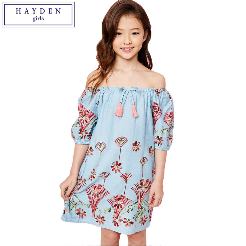 Fashion Style New Style Kid Baby Girls Floral Dress Boho Off Shoulder Short Sleeve Princess Girl Child Summer Holiday Beach Sundress Clothes Women's Bags Wallets