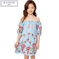 HAYDEN Girls Off Shoulder Dress Summer Beach Bohemian Kids Flower Embroidery Dress 2017 New Arrival Big