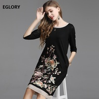 High Quality Brand Plus Size Summer Dress 2019 Fashionable Women O Neck Exquisite Embroidery 3/4 Sleeve Straight Vintage Dress
