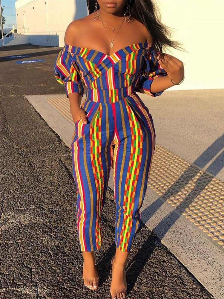 2019 Autumn Women Elegant Vacation Leisure Romper Female Overalls Off Shoulder Casual Colorful Striped Puffed Sleeve Jumpsuit in Jumpsuits from Women 39 s Clothing