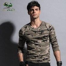 Military elastic straitest Camouflage long-sleeve T-shirt long johns Men slim