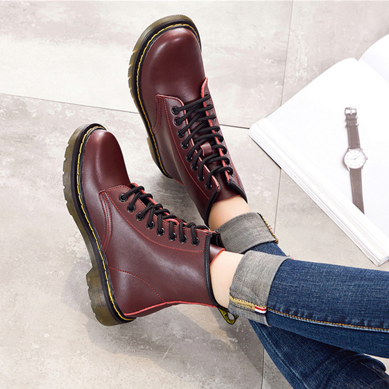 Livraison directe GTIME Split cuir femmes bottes Dr Martin bottes chaussures haut de gamme moto chaussures femme botte de neige VIP Link SXJJ102