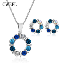 Fashion Colorful Imitated Crystal Beads Jewelry Sets For Women Bridal Wedding Accessories Gold Color Necklace Stud Earrings Set