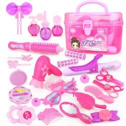 24-32 pces fingir jogar criança compõem brinquedos rosa maquiagem conjunto princesa cabeleireiro simulação brinquedo plástico para meninas vestir cosméticos