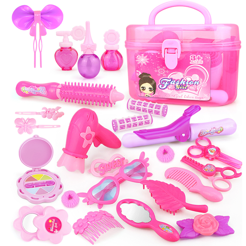24-32PCS Pretend Play Kid Make Up Toys Pink Makeup Set Princess Hairdressing Simulation Plastic Toy For Girls Dressing Cosmetic(China)
