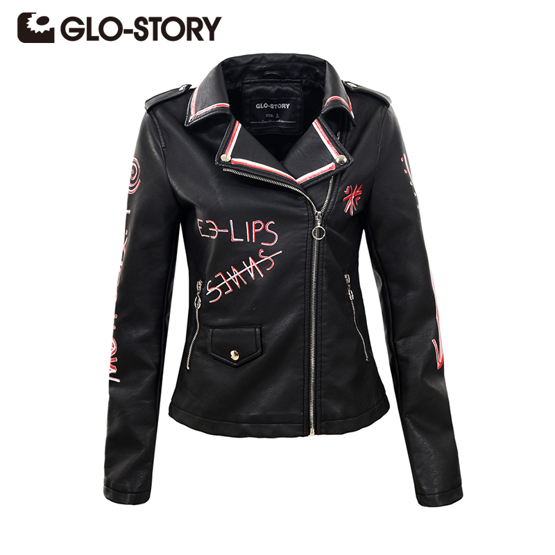 GLO-STORY Women Faux Leather Jacket Autumn Fashion Letter Print Black Slim High Street PU Jacket Cool Zipper Epaulet Coat Female