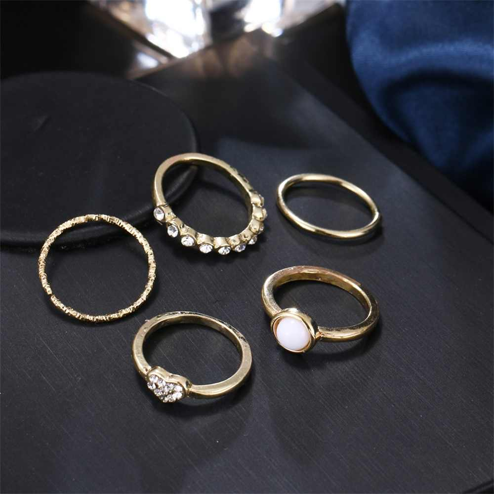 KISS WIFE Sweet Romantic Pearl Love Heart Crystal Adjustable Geometric Gold Ring Set Women's Party Jewelry 5 Pcs/set