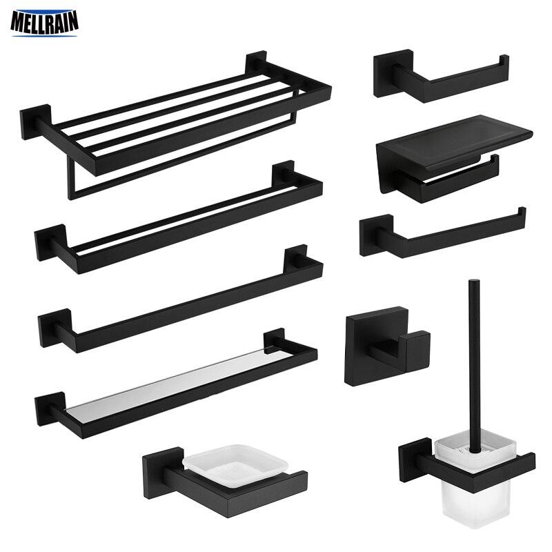 Schwarz Qualität Bad Hardware Set 304 Edelstahl Handtuch Rack Wc Papier Halter Flüssigkeit Seife Halter Handtuch Bar 10 Wahl