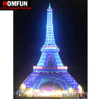 "HOMFUN LED Light Full Round Drill 5D DIY Diamond Painting ""Eiffel Tower"" 3D Embroidery Cross Stitch Mosaic Decor Gift 30X40CM"