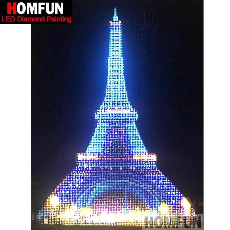 HOMFUN LED Light Full Round Drill 5D DIY Diamond Painting Eiffel Tower 3D Embroidery Cross Stitch Mosaic Decor Gift 30X40CM