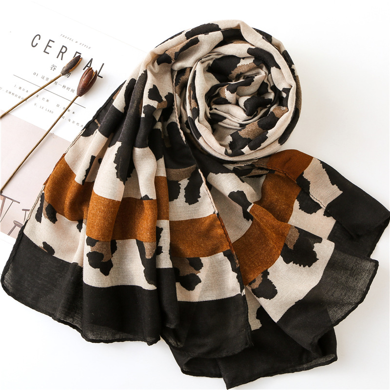 KYQIAO WOMEN LEOPARD PRINT   SCARF   2019 female autumn spring Spain style chic brand long leopard patchwork   scarf     wraps