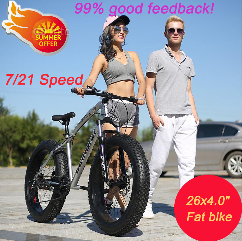 """Цена за Высокое качество 7/21 Скорость 26x4.0 """"Жир велосипед Горный Велосипед Снег Велосипедов Шок Амортизационная Вилка bicicleta бесплатная доставка"""