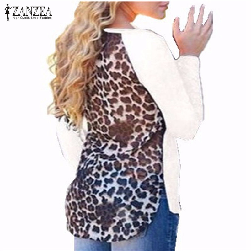 Zanzea Blusas Femininas Women Blouses Sexy Casual Tee Tops Long Sleeve Shirts Tops Leopard Patchwork Oversized Blouses