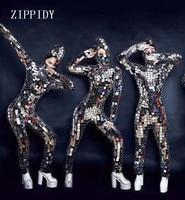 Полный блёстки накладка на зеркало Комбинезон Сексуальная Одежда для танцев комплект ночной клуб косплэй танец певица шоу на сцене ярк