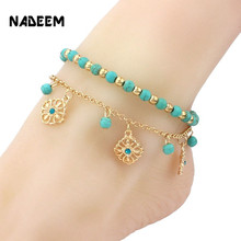 2Pcs Unique Nice Turquoise Beads Flowes Pendant Gold Chain Anklet Souvenir Ankle Bracelet Foot Jewelry Fast Free Shipping ND4115