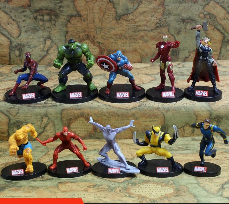 10pcs/set Avengers Superheros Iron Man Spiderman Wolverine Quicksilver Ben Grimm Hulk PVC Action Figure Toy KT402 hoverbot g 6