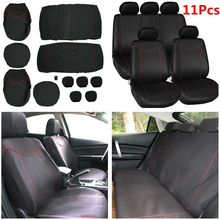 Mayitr 11pcs/set Full Set Universal Car Seat Cover Low Front Back Set Black + Red Edge Car Styling Automobiles Seat Covers