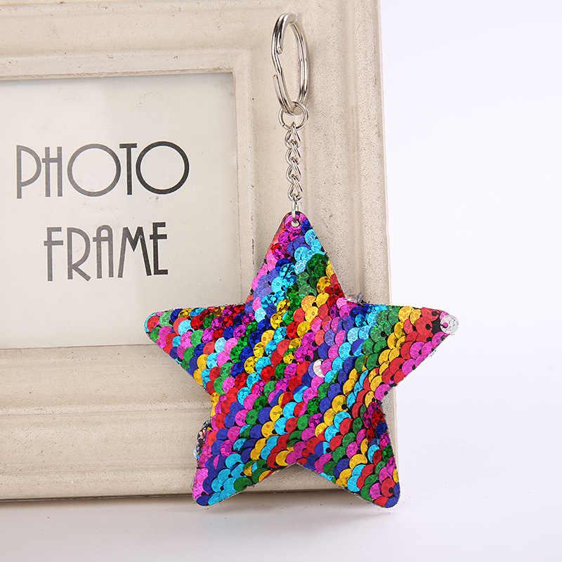 Lindo llavero estrella brillo pompón lentejuelas clave cadena regalos para mujeres Llaveros Mujer bolsa de coche accesorios anillo Chaveiro
