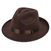 Fashion Vintage Men Women Hard Felt Hat Wide Brim Fedora Trilby Panama Hat Gangster Cap  Summer Spring Hard Felt Hat britain fuzzy ball embellished felt horseman hat