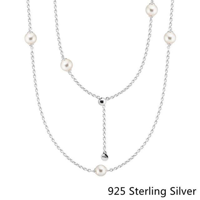4be564471 CKK 925 Sterling Silver Luminous Dainty Droplets, White Crystal Pearl  Pendants Original Jewelry Making