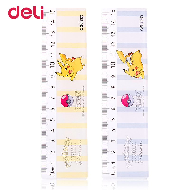 Deli Pokemon Pikachu Creative Learning Drawing Tool Stationery Flat Plastic Rule Student Ruler School Stationery 71981 Dropship